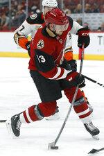Arizona Coyotes defenseman Alex Goligoski (33) scores a goal against the Anaheim Ducks in the second period during an NHL hockey game, Thursday, March 14, 2019, in Glendale, Ariz. (AP Photo/Rick Scuteri)