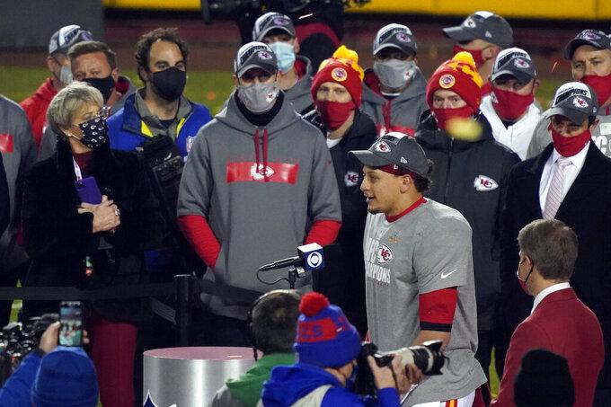 Kansas City Chiefs quarterback Patrick Mahomes celebrates after the AFC championship NFL football game against the Buffalo Bills, Sunday, Jan. 24, 2021, in Kansas City, Mo. The Chiefs won 38-24. (AP Photo/Jeff Roberson)