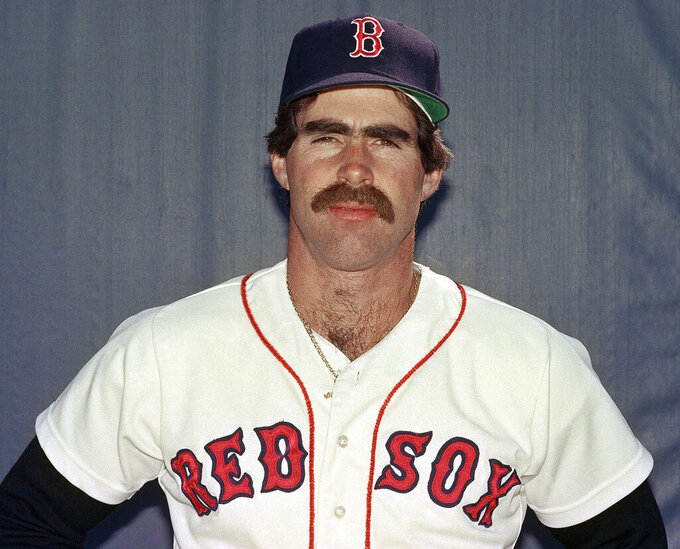 FILE - In this March 1986, file photo, Boston Red Sox first baseman Bill Buckner poses for a photo. Buckner, a star hitter who became known for making one of the most infamous plays in major league history, has died. He was 69. Buckner's family said in a statement that he died Monday, May 27, 2019, after a long battle with dementia. (AP Photo, File)