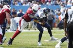 Arizona Cardinals linebacker Chandler Jones (55) sacks Tennessee Titans quarterback Ryan Tannehill (17) in the second half of an NFL football game Sunday, Sept. 12, 2021, in Nashville, Tenn. (AP Photo/Mark Zaleski)