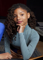 """FILE - In this Dec. 22, 2017 file photo, Halle Bailey poses for a portrait at RMC Studio in Los Angeles. Bailey, half of the sister duo Chloe x Halle, will next be going under the sea, starring as Ariel in the upcoming adaptation of """"The Little Mermaid."""" The live-action version will include original songs from the 1989 animated hit as well as new tunes from original composer Alan Menken and """"Hamilton"""" creator Lin-Manuel Miranda. (Photo by Rebecca Cabage/Invision/AP, File)"""