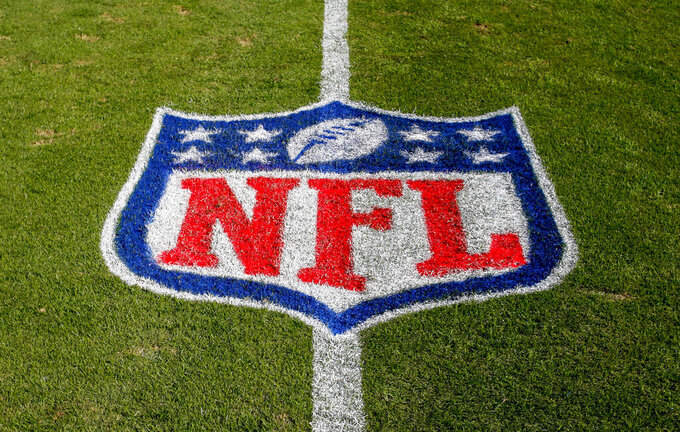 FILE - In this Nov. 4, 2018 file photo, the NFL logo is displayed on the field at the Bank of American Stadium before an NFL football game between the Tampa Bay Buccaneers and the Carolina Panthers in Charlotte, N.C. The NFL revealed Sunday, Aug. 23, 2020, that several positive COVID-19 tests were found a day earlier by one of its testing partners, and the Chicago Bears said they had nine false positives. (AP Photo/Nell Redmond, File)