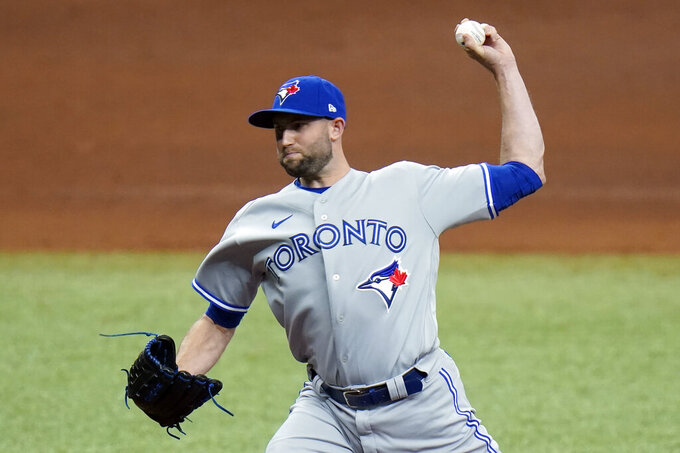 Toronto Blue Jays relief pitcher Tim Mayza delivers to the Tampa Bay Rays during the fifth inning of a baseball game Sunday, April 25, 2021, in St. Petersburg, Fla. (AP Photo/Chris O'Meara)