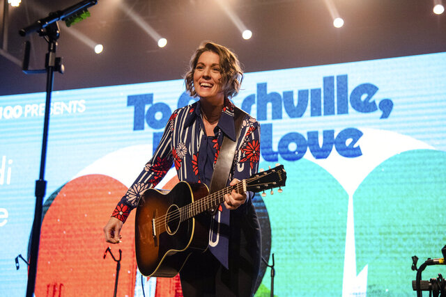 Brandi Carlile performs at the To Nashville, With Love Benefit Concert at Marathon Music Works on Monday, March 9, 2020, in Nashville, TN. (Photo by Amy Harris/Invision/AP)