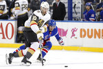 New York Rangers left wing Pavel Buchnevich (89) tries to keep up with Vegas Golden Knights center Nicolas Roy (10) during the first period of an NHL hockey game, Monday, Dec. 2, 2019, in New York. (AP Photo/Kathy Willens)