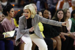 Baylor coach Kim Mulkey gives directions to her players during the second half of an NCAA college basketball game against Texas, Friday, Jan. 31, 2020, in Austin, Texas. (AP Photo/Eric Gay)