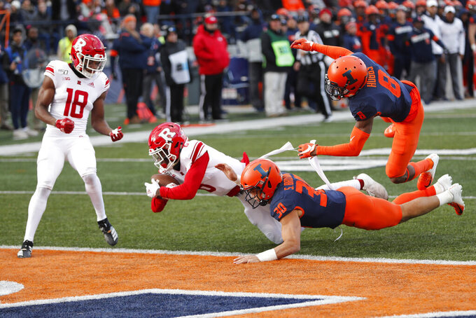 Rutgers wide receiver Mohamed Jabbie (6) scores on a pass while Illinois defensive back Sydney Brown (30) and Nate Hobbs (8) defend as Bo Melton watches during the first half of an NCAA college football game Saturday, Nov. 2, 2019, in Champaign, Ill. (AP Photo/Charles Rex Arbogast)