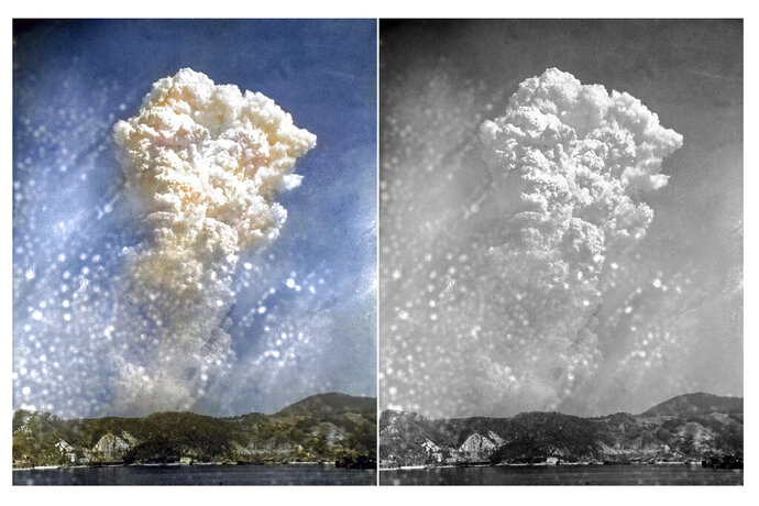 This photo combination shows digital colorization, left, by Anju Niwata and Hidenori Watanave, and original black and white file photo that smoke rises around 20,000 feet above Hiroshima, Japan, after the first atomic bomb was dropped on Aug. 6, 1945. Niwata and Watanave are adding color to pre-war and wartime photographs using a combination of methods. These include AI technologies, but also traditional methods to fill the gaps in automated coloring. These include going door to door interviewing survivors who track back childhood memories, and communicating on social media to gather information from a wider audience. The team has brought to life more than a thousand black-and-white photographs that illustrate the pre-war lives of ordinary people and chronicles the onset and destruction caused by World War II. (Anju Niwata & Hidenori Watanave via AP)