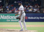 Minnesota Twins starting pitcher Michael Pineda pumps his fist after getting Texas Rangers' Nomar Mazara to fly out to end the top of the fifth inning of a baseball game in Arlington, Texas, Thursday, Aug. 15, 2019. (AP Photo/Tony Gutierrez)