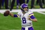 Minnesota Vikings quarterback Kirk Cousins throws during the first half of an NFL football game against the Detroit Lions, Sunday, Jan. 3, 2021, in Detroit. (AP Photo/Al Goldis)