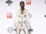 FILE - Lil Nas X arrives at the BET Awards on June 27, 2021, in Los Angeles. The rapper has been awarded the inaugural Suicide Prevention Advocate of the Year Award from the advocacy group The Trevor Project. The Trevor Project is a nonprofit dedicated to suicide prevention and crisis intervention for lesbian, gay, bisexual, transgender, queer and questioning young people. (Photo by Jordan Strauss/Invision/AP, File)