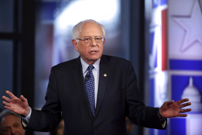 FILE - In this April 15, 2019, file photo, Democratic presidential candidate Sen. Bernie Sanders, I-Vt., speaks during a Fox News town-hall style event in Bethlehem, Pa. Whether to appear on Fox News has become an unlikely marker for the divergent strategies top Democrats vying for the White House are employing to try and deny a second term to one of the network's most-avid viewers, President Donald Trump(AP Photo/Matt Rourke, File)