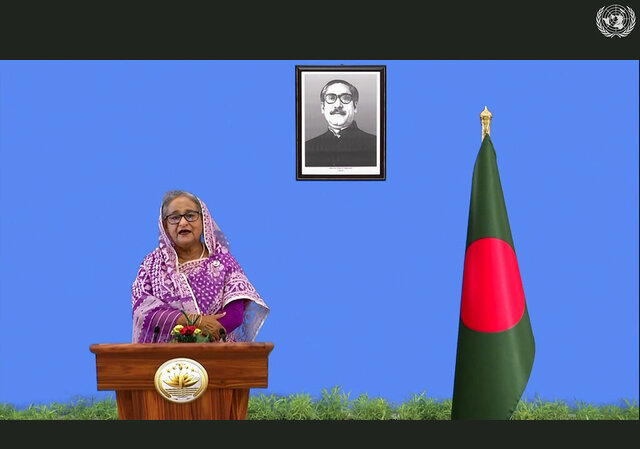 In this photo made from UNTV video, Sheikh Hasina, Prime Minister of Bangladesh, speaks in a pre-recorded message which was played during the 75th session of the United Nations General Assembly, Saturday, Sept. 26, 2020, at UN Headquarters. (UNTV Via AP )