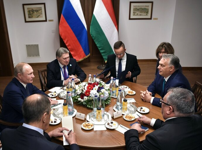 Hungarian Prime Minister Viktor Orban, right, and Russian President Vladimir Putin, left, attend the talks in Budapest, Hungary, Wednesday, Oct. 30, 2019. Hungary has maintained friendly ties with Russia and long criticized the European Union's sanctions against Moscow. (Alexei Nikolsky, Sputnik, Kremlin Pool Photo via AP)