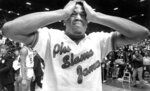 FILE - In this April 4, 1983, file photo, Houston's Renaldo Thomas holds his head after losing 54-52 to North Carolina State in the championship game of the NCAA colle basketball championship game in Albuquerque, N.M. (Larry Reese/Houston Chronicle via AP, File)
