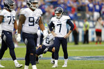 Tennessee Titans kicker Cairo Santos (7) stands on the field after missing his fourth straight field goal attempt against the Buffalo Bills in the second half of an NFL football game Sunday, Oct. 6, 2019, in Nashville, Tenn. (AP Photo/James Kenney)