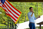 FILE - In this Sept. 2, 2019, file photo, Stephen Smith, running for governor of West Virginia in 2020, speaks at the UMWA Labor Day Picnic in Racine, W.Va. Before the coronavirus upended the world, West Virginia Gov. Jim Justice was in trouble. Members of his own party rebelled against him. Federal prosecutors investigated him. Embarrassing lawsuits loomed. But now some argue the the Republican governor has been able to use his daily virus news conferences to stabilize before the primary elections, and drown out competitors whose campaigns have been drastically hamstrung by the pandemic.  (Kenny Kemp/Charleston Gazette-Mail via AP, File)
