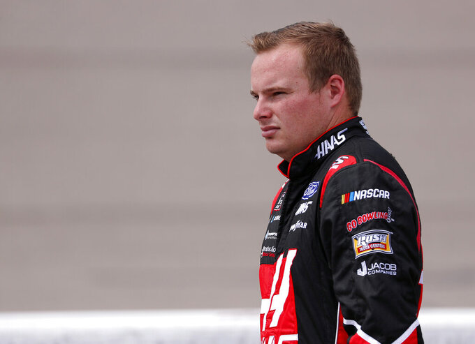 Cole Custer watches during qualifying for the NASCAR Xfinity Series auto race, Saturday, July 27, 2019, at Iowa Speedway in Newton, Iowa. (AP Photo/Matthew Putney)