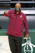 Florida State head coach Leonard Hamilton gestures during the second half of an NCAA college basketball game against Miami, Wednesday, Feb. 24, 2021, in Coral Gables, Fla. (AP Photo/Marta Lavandier)