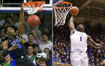 FILE - At left, in a Jan. 28, 2019, file photo, Duke's RJ Barrett (5) dunks against Notre Dame during the second half of an NCAA college basketball game, in South Bend, Ind. At right, in a Jan. 19, 2019, file photo, Duke's Zion Williamson (1) drives to the basket against Virginia during the second half of an NCAA college basketball game, in Durham, N.C. Duke freshmen RJ Barrett and Zion Williamson are 1-2 in the league in scoring. They could end up that way for top ACC player, too. (AP Photo/File)