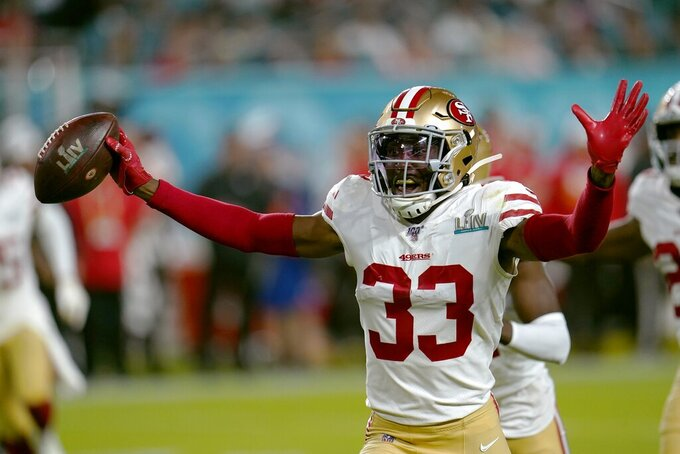 San Francisco 49ers' Tarvarius Moore celebrates his interception against the Kansas City Chiefs during the second half of the NFL Super Bowl 54 football game Sunday, Feb. 2, 2020, in Miami Gardens, Fla. (AP Photo/David J. Phillip)