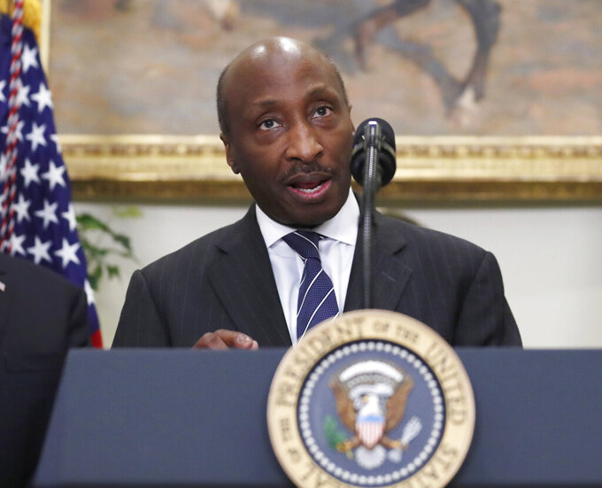 FILE - In this July 20, 2017 file photo, Merck CEO Ken Frazier speaks in the Roosevelt Room of the White House in Washington. Merck is entering a new era, with sweeping changes across its executive suite and the spinoff off its women's health and other businesses, a bid to enable both resulting companies to grow faster.  The massive management makeover, mostly triggered by Frazier's upcoming retirement, occurs as the drugmaker says hits to sales of many of its medicines amid lockdowns and other impacts from the coronavirus pandemic will lessen and sales will rise over the rest of the year.  (AP Photo/Alex Brandon, File)