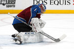 Colorado Avalanche goaltender Semyon Varlamov makes a save against the Vegas Golden Knights in the second period of an NHL hockey game Monday, Feb. 18, 2019, in Denver. (AP Photo/David Zalubowski)