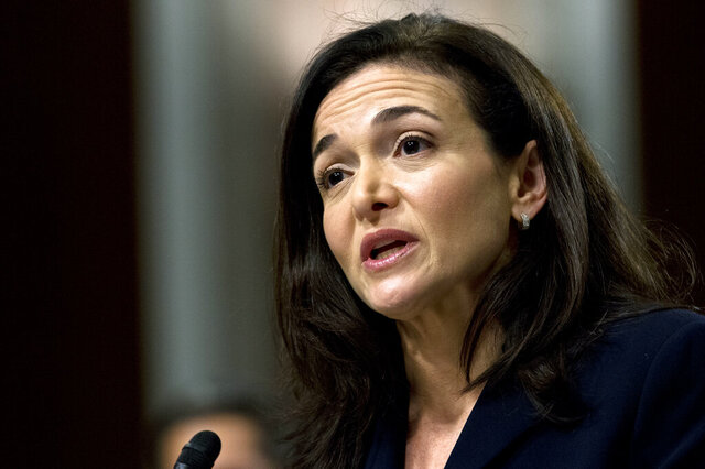 FILE- In this Sept. 5, 2018, file photo, Facebook COO Sheryl Sandberg testifies before the Senate Intelligence Committee hearing on