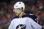 Columbus Blue Jackets right wing Josh Anderson (77) stands on the ice during the first period of an NHL hockey game against the Washington Capitals, Saturday, Jan. 12, 2019, in Washington. The Columbus Blue Jackets and Montreal Canadiens got the trading started three hours before the first round of the draft began with an intriguing swap of forwards. The Blue Jackets got Max Domi and a third-round pick from the Canadiens for Anderson. Each player is a restricted free agent who needs a new contract for next season. (AP Photo/Nick Wass)
