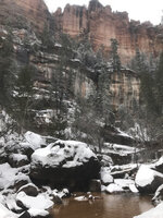 This Sunday, Feb. 17, 2019 photo provided by the National Park Service shows a creek where a hiker was rescued after being stuck in quicksand on Saturday, Feb. 16, 2019, in Zion National Park, Utah. The Zion Search and Rescue team took several hours, to locate the man who was stable but suffering from exposure, hypothermia, and extremity injuries. (National Park Service via AP)