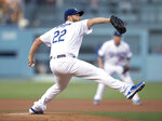 Los Angeles Dodgers starting pitcher Clayton Kershaw throws during the first inning of the team's baseball game against the Chicago Cubs in Los Angeles, Thursday, June 13, 2019. (AP Photo/Kyusung Gong)