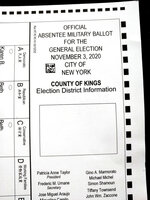 FILE - This Tuesday, Sept. 29, 2020, file photo, shows a section of an absentee ballot marked