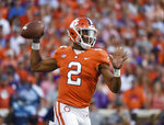 Clemson quarterback Kelly Bryant (2) looks to pass against Auburn during the first half of an NCAA college football game, Saturday, Sept. 9, 2017, in Clemson, S.C. (AP Photo/Rainier Ehrhardt)