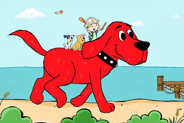 "This image released by Scholastic Entertainment shows a scene from the reboot of  ""Clifford the Big Red Dog."" The new show offers more diversity among the human characters and puts Clifford's beloved 7-year-old owner, Emily Elizabeth, front and center in his Birdwell Island adventures. (Scholastic Entertainment via AP)"
