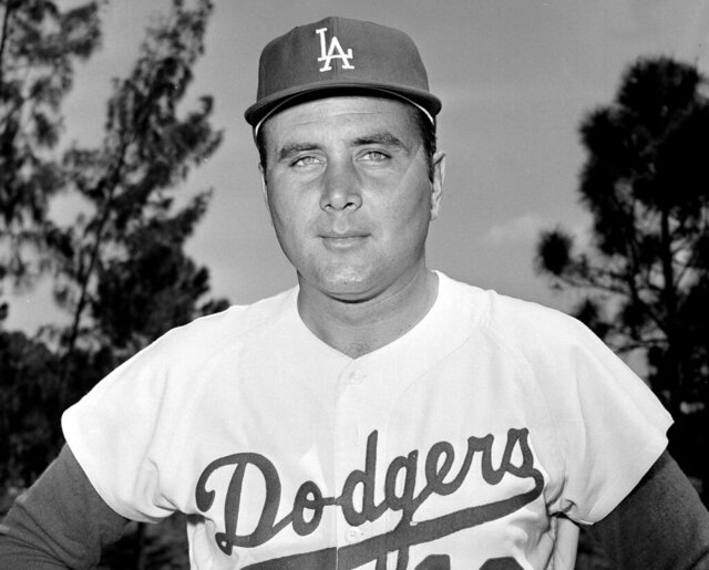 FILE - In this April 1965 file photo, Los Angeles Dodgers pitcher Ron Perranoski poses. Perranoski, one of the Dodgers' greatest lefthanded relievers of all-time, passed away at the age of 84 on Friday, Oct. 2, 2020, at his home in Vero Beach, Fla. (AP Photo/File)