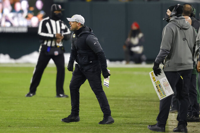 Green Bay Packers head coach Matt LaFleur reacts after a pass interference call was made against Green Bay during the second half of the NFC championship NFL football game against the Tampa Bay Buccaneers in Green Bay, Wis., Sunday, Jan. 24, 2021. (AP Photo/Jeffrey Phelps)