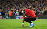 Manchester United's Fred reacts after objects were thrown at him during the English Premier League soccer match at the Etihad Stadium, Manchester, England Saturday Dec. 7, 2019. (Mike Egerton/PA via AP)