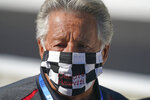 Mario Andretti looks on before the final practice session for the Indianapolis 500 auto race at Indianapolis Motor Speedway, Friday, Aug. 21, 2020, in Indianapolis. (AP Photo/Darron Cummings)