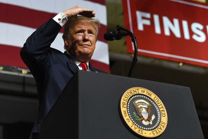 President Donald Trump speaks during a rally at the El Paso County Coliseum, Monday, Feb. 11, 2019, in El Paso, Texas. (AP Photo/Susan Walsh)