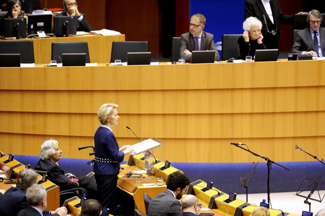 Liliana Segre, senator for life, Senato della Repubblica and survivor of Auschwitz, rear second right, listens to an address by European Commission President Ursula von der Leyen during a ceremony to remember victims of the Holocaust at the European Parliament in Brussels, Wednesday, Jan. 29, 2020. (AP Photo/Virginia Mayo)