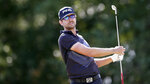 Scott Harrington watches his tee shot on the 9th hole during the third round of the Houston Open golf tournament Saturday, Oct, 12, 2019, in Houston. (AP Photo/Michael Wyke)