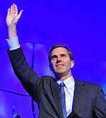 Kentucky Attorney General Andy Beshear waves to his supporters following his victory in the Democratic primary for governor in Louisville, Ky., Tuesday, May 21, 2019.
