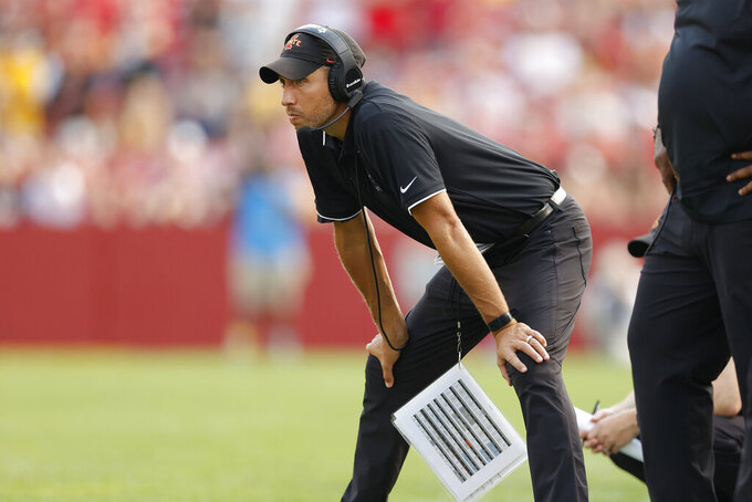 Iowa State head coach Matt Campbell watches from the sidelines during the first half of an NCAA college football game against Iowa, Saturday, Sept. 11, 2021, in Ames, Iowa. (AP Photo/Matthew Putney)