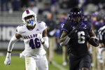 Louisiana Tech linebacker Ezekiel Barnett (46) pursues TCU running back Zach Evans (6) on a touchdown run in the third quarter during an NCAA college football game, Saturday, Dec. 12, 2020. (AP Photo/ Richard W. Rodriguez)