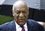 FILE - In this Sept. 25, 2018, file photo, Bill Cosby arrives for a sentencing hearing following his sexual assault conviction at the Montgomery County Courthouse in Norristown Pa. Cosby was convicted of sexual assault in 2018. He is serving up to 10 years in prison. Now in the midst of another historic reckoning, this time addressing the treatment of African Americans and other people of color by police and the criminal justice system, the 82-year-old Cosby has won the right to an appeal. (AP Photo/Matt Rourke, File)