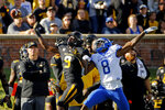 Kentucky cornerback Derrick Baity Jr. (8) breaks up a pass intended for Missouri wide receiver Jalen Knox (9) during the first half of an NCAA college football game Saturday, Oct. 27, 2018, in Columbia, Mo. (AP Photo/Charlie Riedel)
