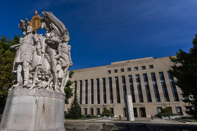 The E. Barrett Prettyman United States Court House is seen, Friday, Oct. 9, 2020, in Washington. (AP Photo/Manuel Balce Ceneta)