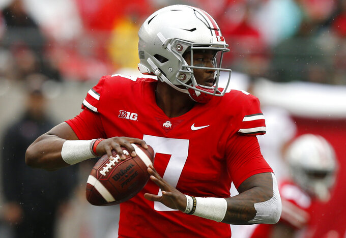 In this Sept. 8, 2018 photo Ohio State quarterback Dwayne Haskins plays against Rutgers during an NCAA college football game in Columbus, Ohio. Work-in-progress Nebraska may be the tonic for what ails No. 8 Ohio State. The Buckeyes had had a bye week to stew over the improbable Oct. 20 loss to Purdue when their running game and defense were inexplicably absent. Nebraska is improving but will come into Ohio Stadium as a four-touchdown underdog. The Huskers are led by a freshman dual-threat quarterback and senior tailback that have help revive their running game. (AP Photo/Jay LaPrete)