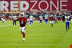 Arizona Cardinals wide receiver Rondale Moore (4) runs in for touchdown against the Minnesota Vikings during the first half of an NFL football game, Sunday, Sept. 19, 2021, in Glendale, Ariz. (AP Photo/Ross D. Franklin)