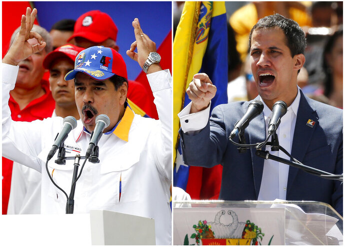 FILES - This combination of file photos shows Venezuela's President Nicolas Maduro on March 23, 2019 addressing supporters at an anti-imperialist rally, left, and self-proclaimed interim president of the country, Juan Guaidó, speaking to his supporters on Feb. 12, 2019 at a demonstration against Maduro's government, both in Caracas, Venezuela. Normalcy elsewhere in the world doesn't fit Venezuela, where two men say they are president. (AP Photos/Natacha Pisarenko and Ariana Cubillos, File)